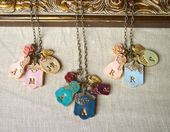 For when we are done having babies!!  Mothers Day Letters Cluster  Children names necklace by Palomaria, $42.00