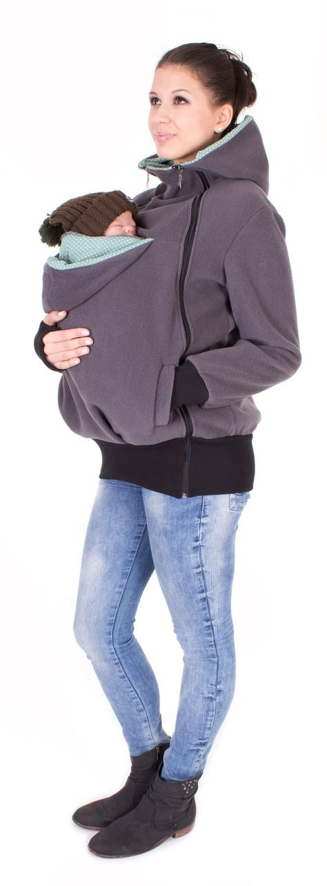 Viva la Mama   Baby Carrying Jacket TRIO (3in1- anthracite/mint - dotted). Hoody for pregnancy, maternity, baby wearing and everyday use. No worries about the blanket not covering toes or fingers! :) #maternityfashion