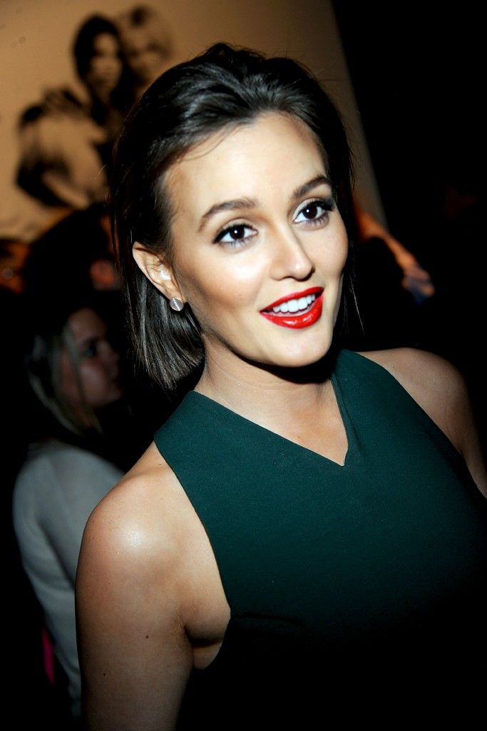 That is some awesome makeup. Leighton Meester via WWD.com.