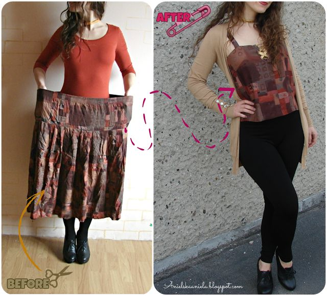 How to sew a lace up top  refashion step by step