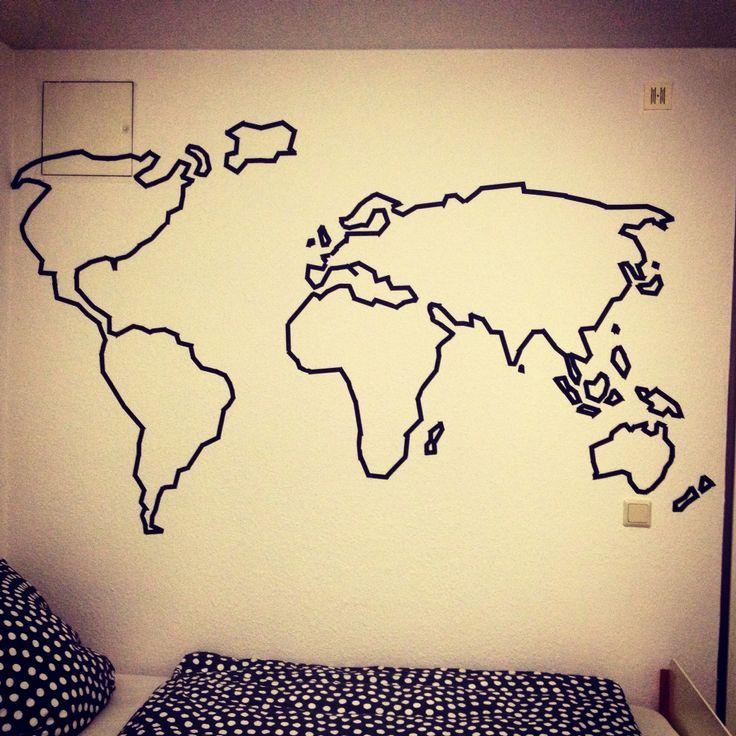 washi tape world map on my wall