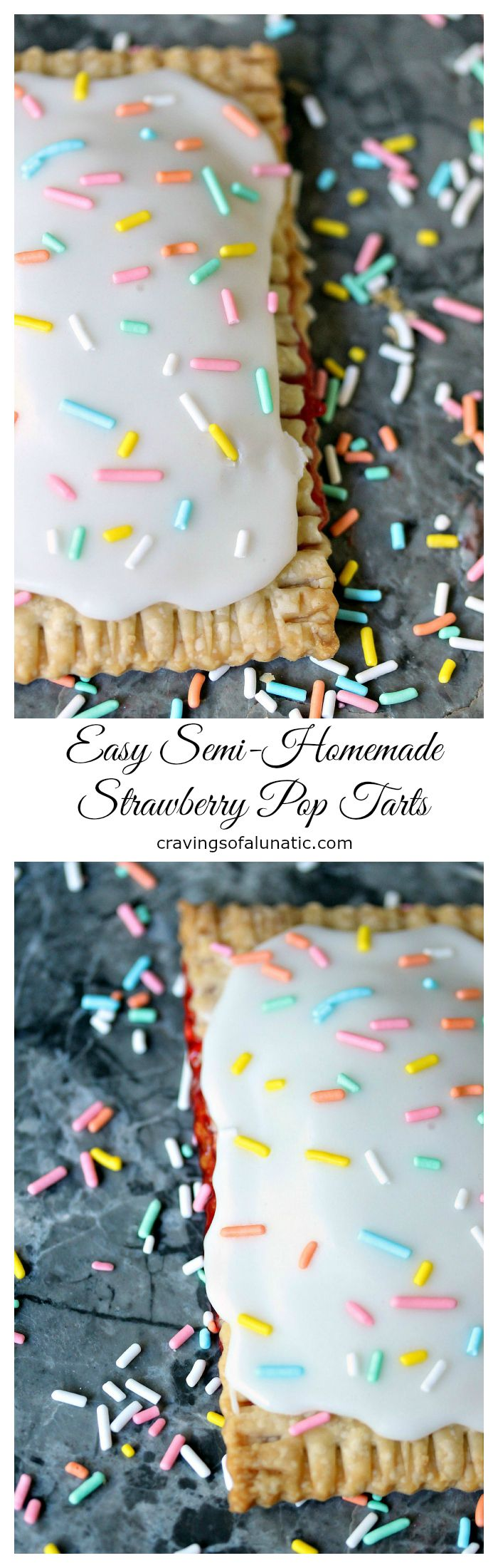 Easy Semi Homemade Strawberry Pop Tarts- These hand pies, aka homemade pop tarts, are super easy to make. Only a few ingredients and you have fresh pies out of the oven and ready to eat in under 30 minutes. Less if you're speedy!