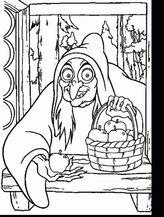Witch With Apple Coloring Pages Disney S Princess Coloring Pages