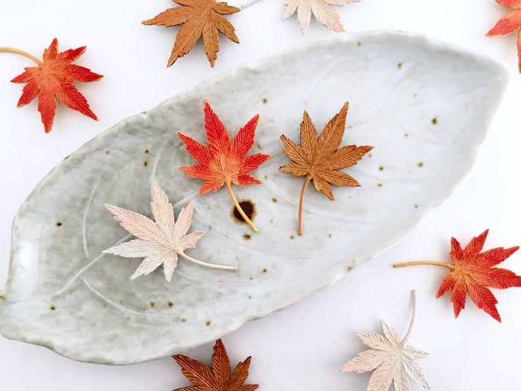 秋立つ 紅葉ブローチ(黄紅葉/ブロンズ系)