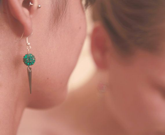 Silver Shambala and spike earrings
