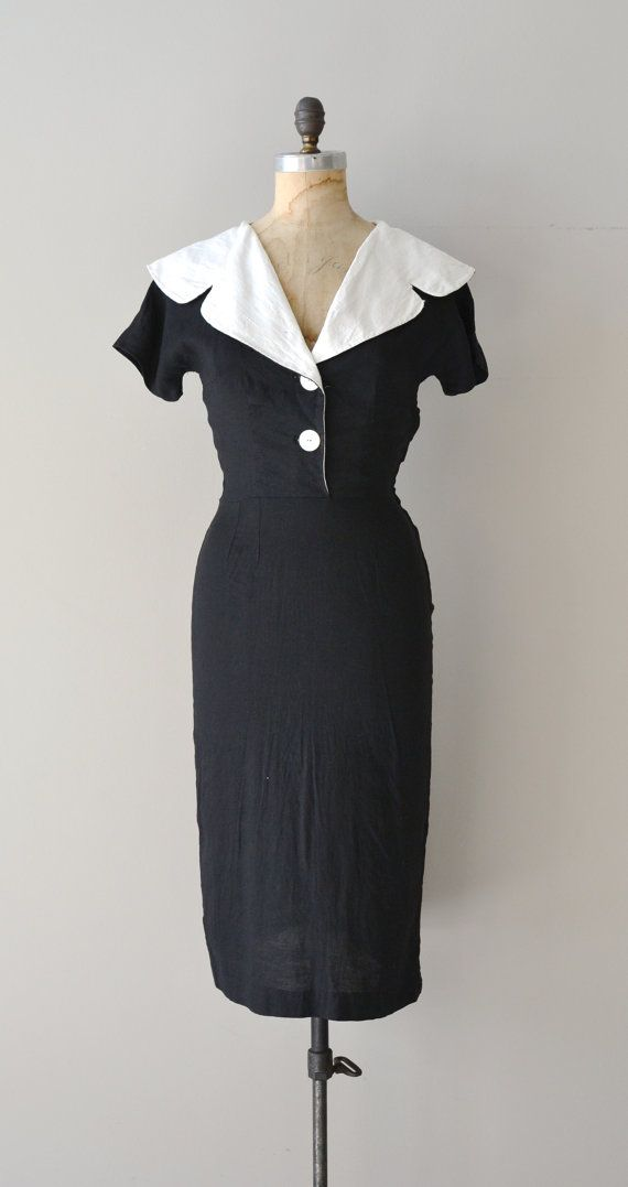 First Folio dress / black 50s dress / vintage 1950s by DearGolden