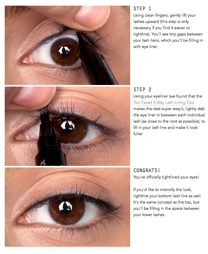 "Tight-lining your eyes (also known as the ""invisible eye liner"") is a great way to add a subtle definition to your eyes. Instead of lining the skin above your lashes, you line between the lash line..."