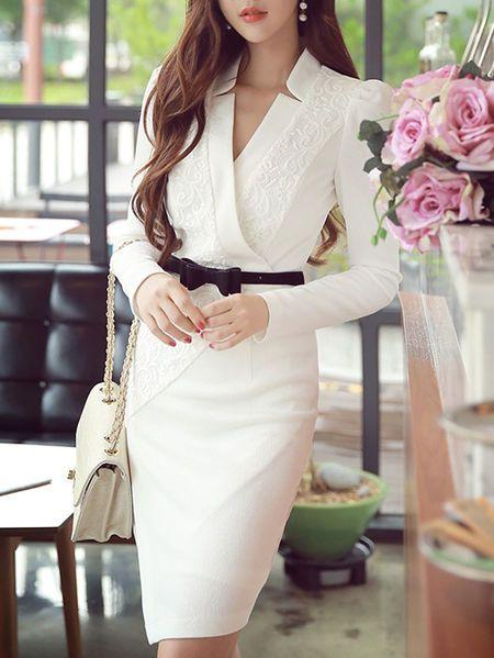 Jacquard OL Style Midi Dress