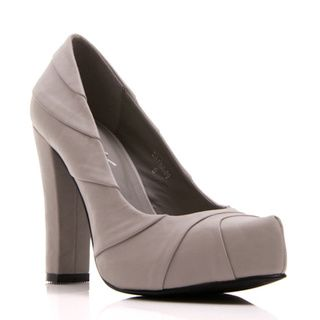 Nvy Women's 'Dayna 09' Chunky Heel Grey Pump - Overstock™ Shopping - Great Deals on Heels