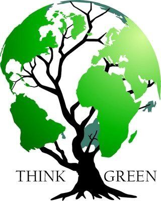 think green - world map tree logo