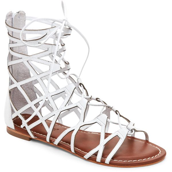 Bernardo White Willow Lace-Up Gladiator Sandals ($90) ❤ liked on Polyvore featuring shoes, sandals, white, gladiator sandal, white sandals, open toe shoes, lace up gladiator sandals and cut out gladiator sandals