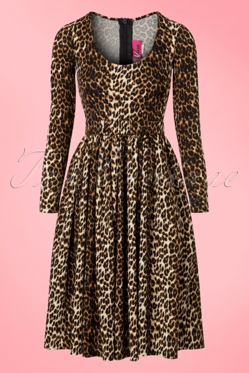 Vixen by Michelle Pitt Frisky Fetish Leopard Troublemaker Swing Dress  luipaard print jurk jaren 50 stijl