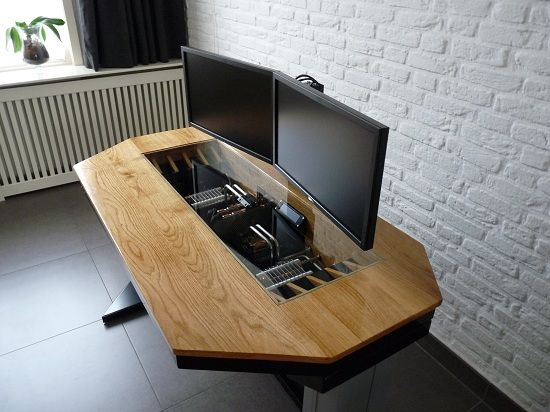 Home-built desk with integrated computer.
