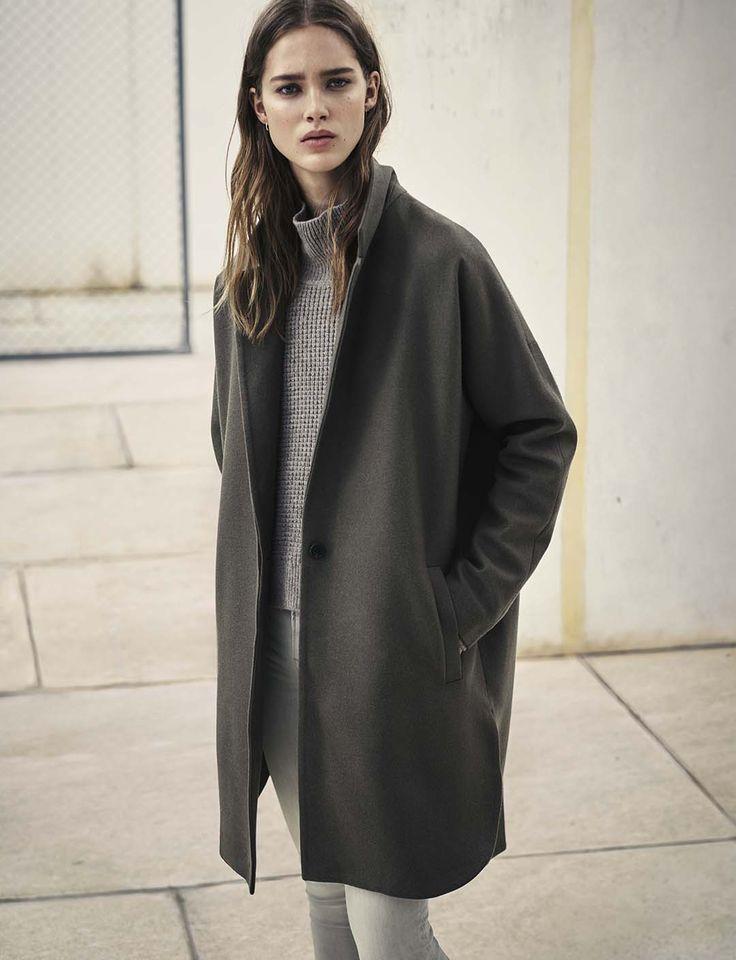 AllSaints Women's February Lookbook Look 13: The Vine Coat, Galo Funnel Jumper, Grace Jeans