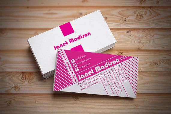 Business cards  with stripes, diagonal lines and text - customizable colors