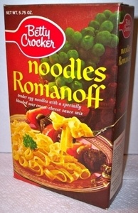 Noodles Romanoff Recipe -- brings back fond memories of my childhood. I don't think we EVER had Kraft Macaroni & Cheese. Mom always made Noodles Romanoff instead. Now that the product is discontinued, I am happy to have found this recreation of it.