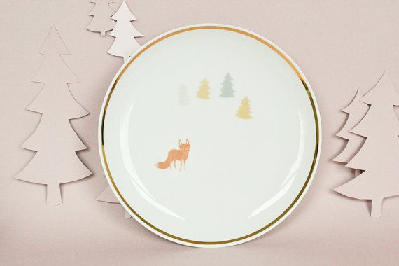 Plate with a fox and trees by StudioRobinPieterse on Etsy, $32.00