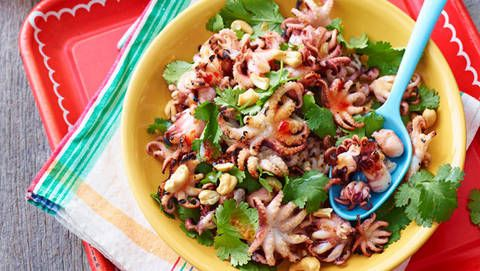 Barbecued octopus with coriander and sweet chilli