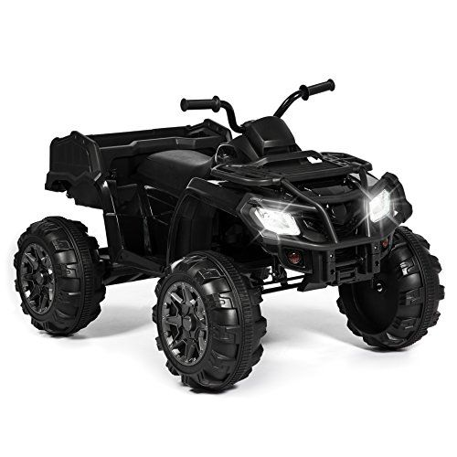 Best Choice Products 12V Powered Extra-Large Kids ATV Quad 4 Wheeler Ride On With Spring Suspension, MP3 Player, Lights, Storage Basket- Black  With a large-scale construction, 4-wheel suspension, and all-terrain wheels, this ride-on XL looks and feels just like a real ATV!  Makes for hours of fun; it features LED headlights, horn sounds, and a storage basket perfect for hauling toys!  High performance 12V motor features a max speed of 4.4 mph and 2 speed options  Sound system is compo...