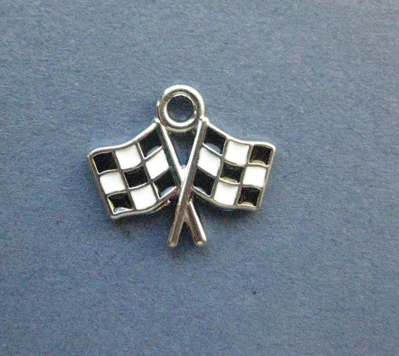 4 Checkered Flag Charms Checkered Flag by RoosTreasureTrunk