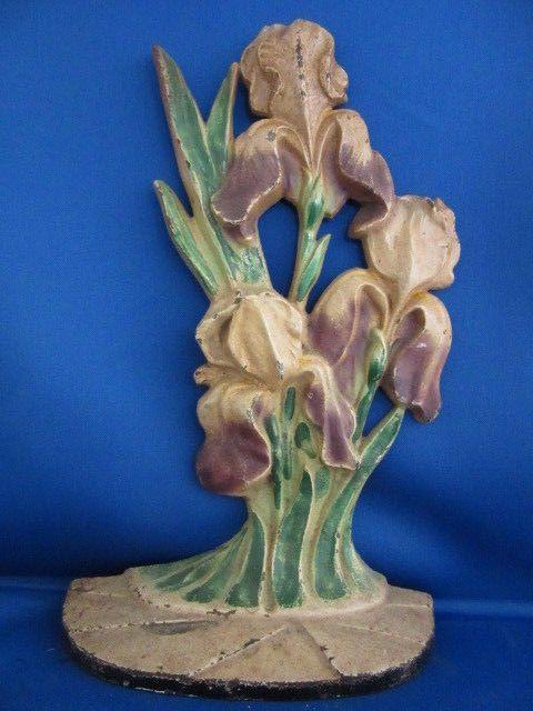 Antique Hubley 469 Iris Flower Cast Iron Doorstop
