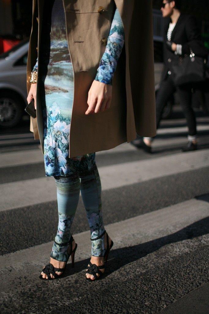 They Are Wearing: Legwear - Slideshow - WWD.com  outside paris shows so dreamy