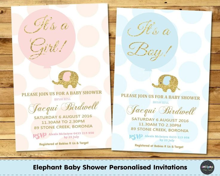 ELEPHANT BABY SHOWER PERSONALISED INVITATION INVITE CARD PINK GOLD BOY GIRL #CUSTOMINVITATION #BABYSHOWER