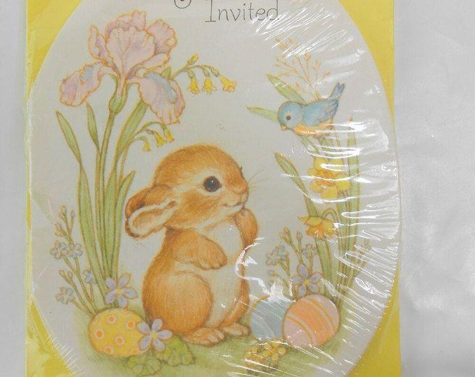 Vintage Party invitaciones invitaciones bunny conejo invitaciones huevo en forma de invitación nuevo viejo stock invitación tarjetas de Hallmark Inc