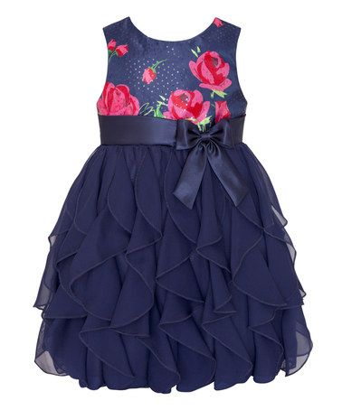 Look what I found on #zulily! Navy & Pink Rose Ruffle Tier Dress - Infant, Toddler & Girls #zulilyfinds