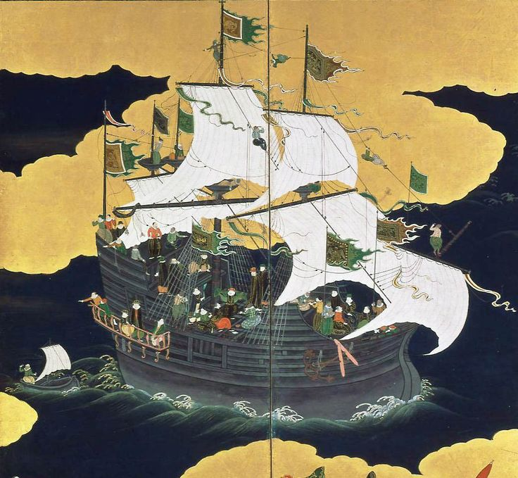 Caravela portuguesa chegando ao Japão, ilustração do século 17 | <i>Crédito: Kano Naizen