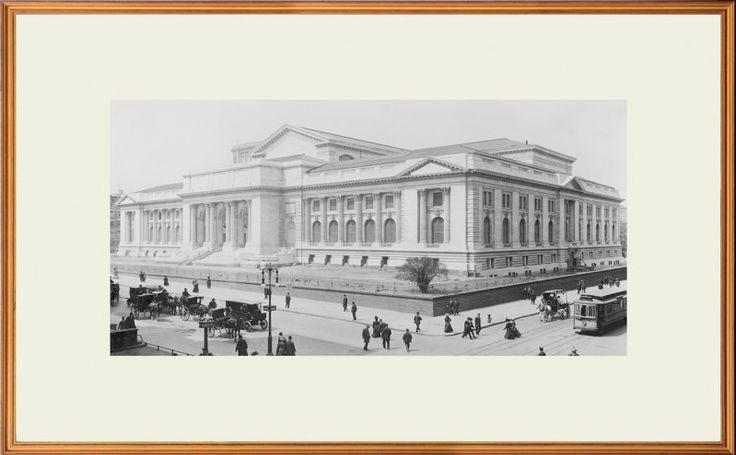Quadro Decorativo com Moldura Dourada Biblioteca Pública de Nova Iorque em Preto e Branco 60x40cm - Decore Pronto
