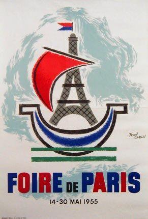 Vintage French Travel Poster Foire de Paris 1955 by Jean Carlu
