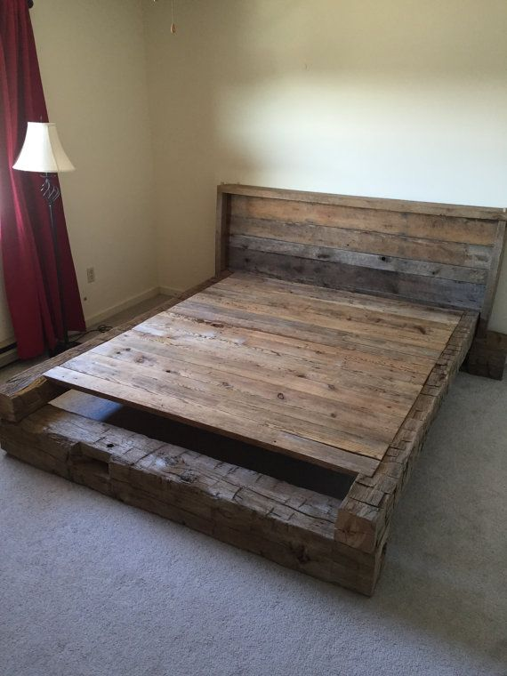 King Platform Bed - Made From Hand-Hewn and Rough Cut Reclaimed Hardwood From the 1800's
