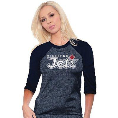 Majestic Threads Winnipeg Jets Ladies 3/4-Sleeve Tri-Blend Raglan T-Shirt