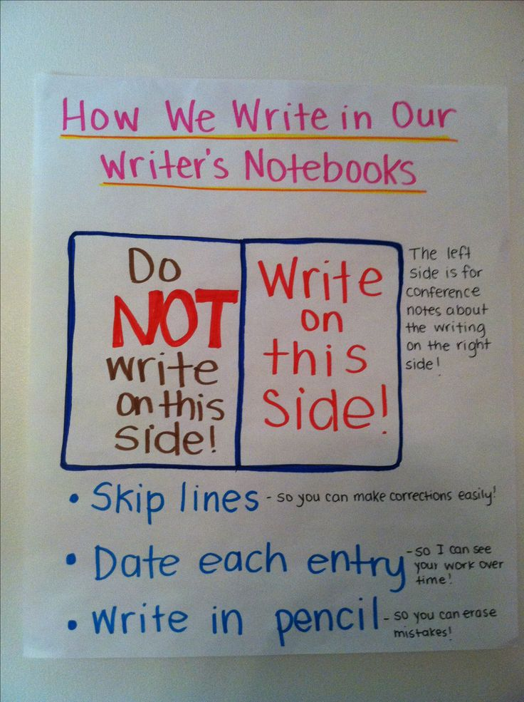 Writer's notebook anchor chart