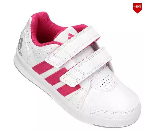T�nis Adidas Lk Trainer 7 Cf K Synth Infantil - Branco e Pink