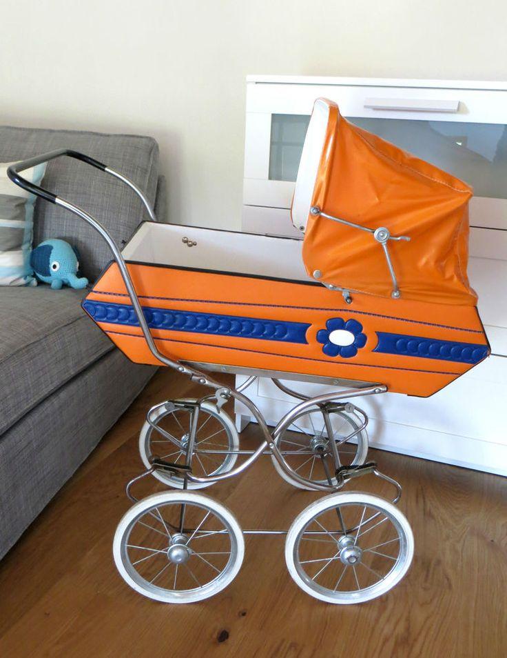 Puppenwagen 70er Jahre Nostalgie Puppenwagen retro Leder orange für Reborn RAR
