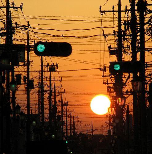 夕日と電線
