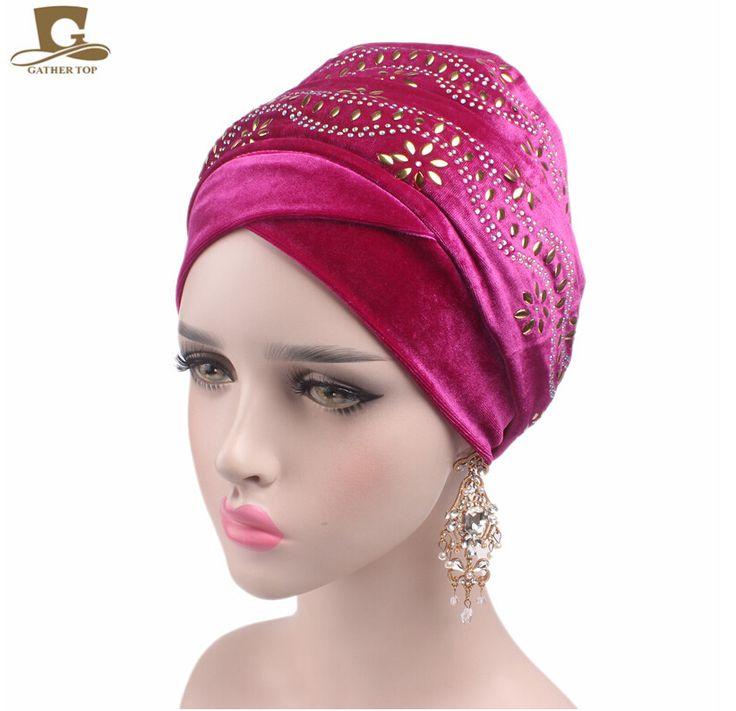 New women Luxury elegant Embellished flower nigerian velvet turban Extra Long Head Wrap Lady Headscarf Women Hijab Turbante #Affiliate
