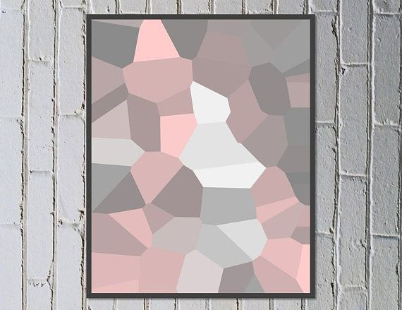 Abstract digital art soft pink grey silver rose dusky pink - Holding On - Made by Gia $5.50