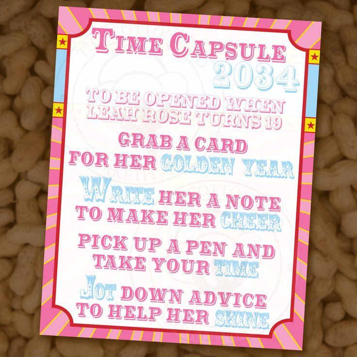 Time Capsule Circus First Birthday Wishes Baby Shower