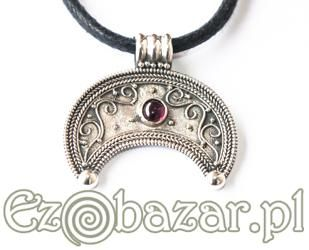 Lunula - silver pendant with garnet. These moon pendants were worn by Slavic women.