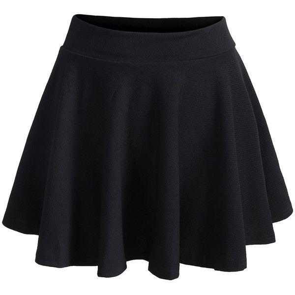 Romwe Elastic Waist Pleated Black Skirt (12 CAD) ❤ liked on Polyvore featuring skirts, bottoms, saias, black, elastic waistband skirt, short skirts, black pleated skirt, black knee length skirt and black skirt