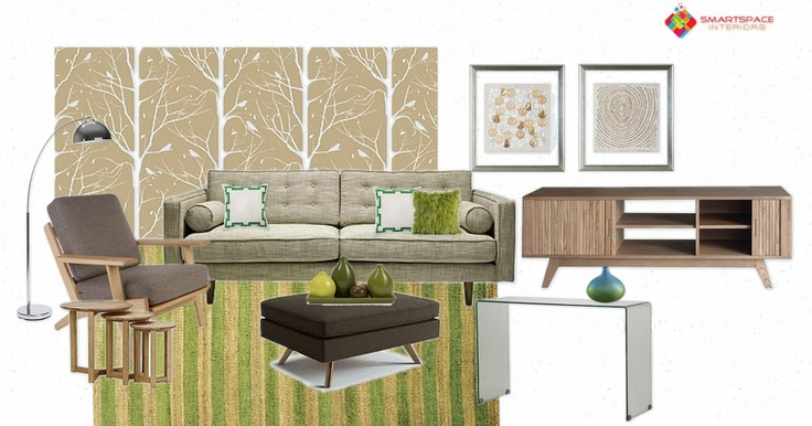 Mid-century living room design - feature Cavern Home New York wallpaper