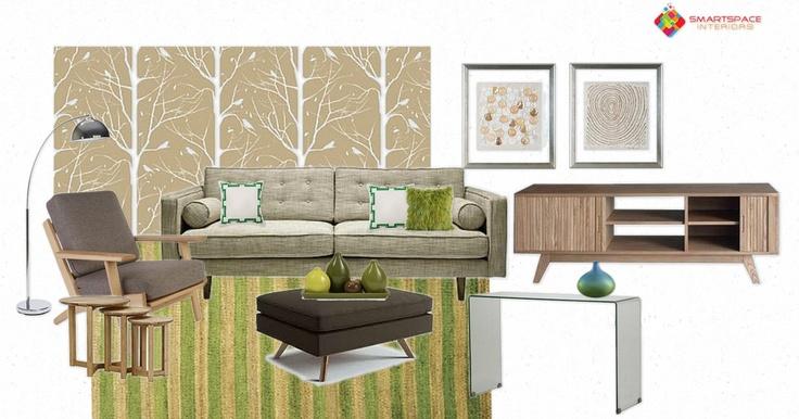 Mid-century living room design - feature Cavern Home New York wallpaper