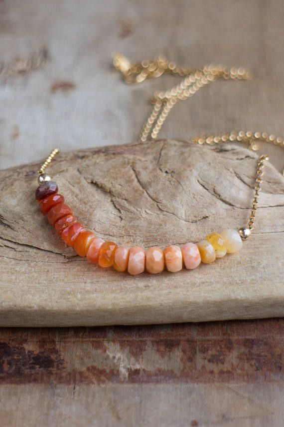 Il fuoco opale collana ottobre Birthstone Ombre opale