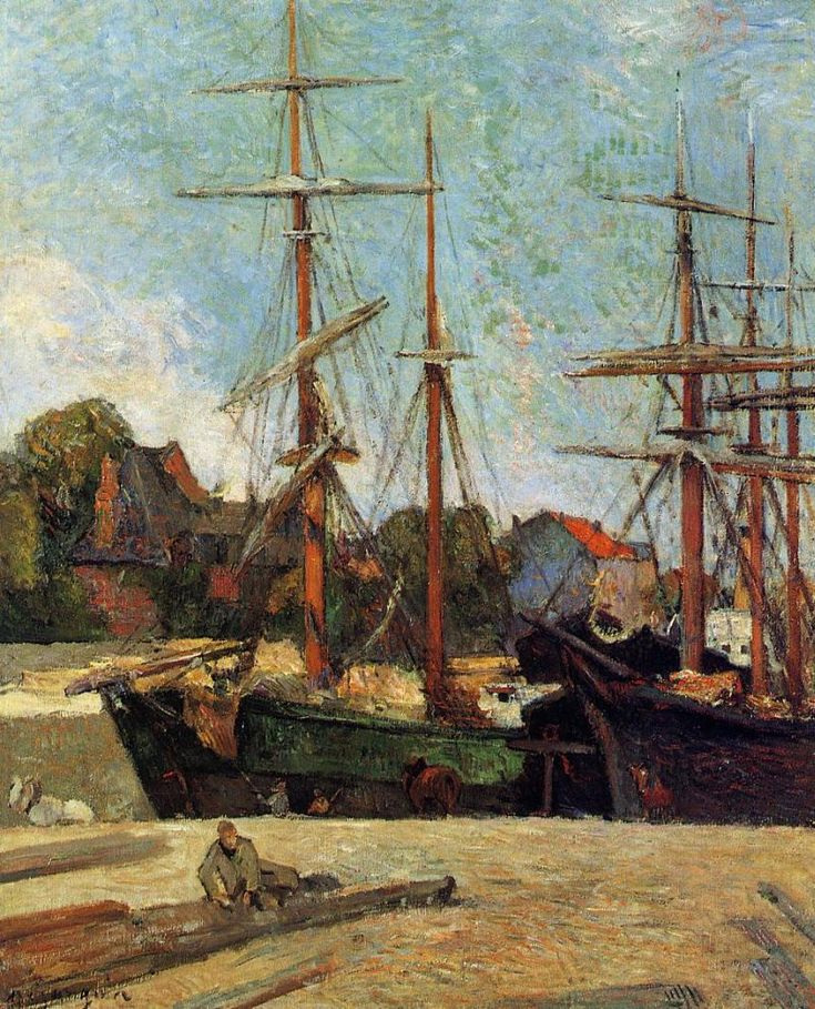 Schooner and Three-Master by Paul Gauguin