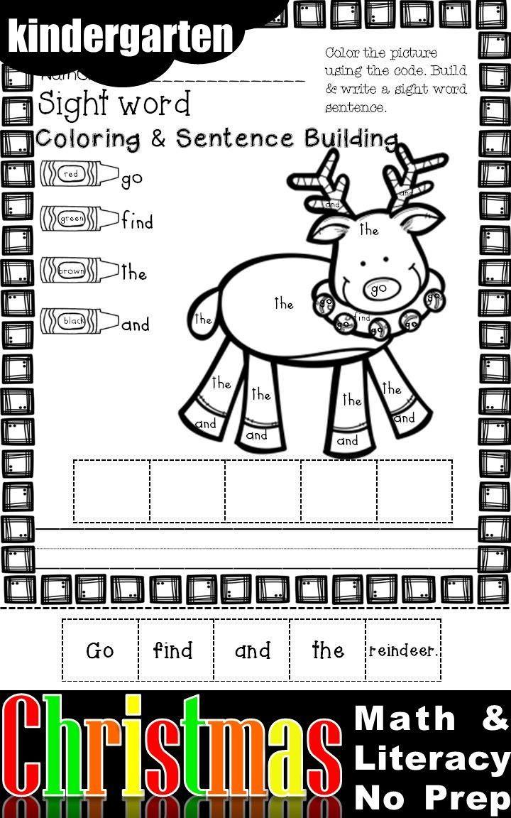 Christmas Math And Literacy No Prep Kindergarten Christmas Math Kindergarten Activities Christmas Kindergarten [ 1152 x 720 Pixel ]