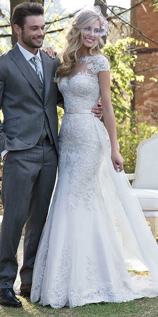 NEW! Elegant Tulle Jewel Neckline 2 In 1 Wedding Dress With Lace Appliques & Bea…