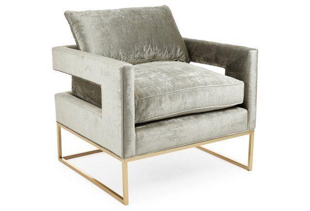 Bevin Velvet Accent Chair, Metal